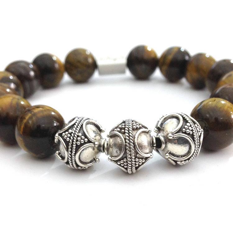 Handmade beautiful Bracelet,TIGER EYE + SILVER BEADS 12MM BRACELET,tiger eye beads,natural stone bracelet,handmade bracelets natural gemstones ,italian style jewelry ,Made In Italy ,handmade bracelets,womens bracelets,mens bracelets