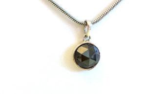 2.16Ct Fancy Black Rose Cut Natural Diamond Pendent
